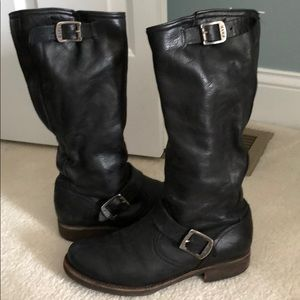 Black Frye boots with buckle